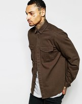 Asos Military Overshirt In Brown With Long Sleeves