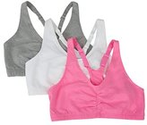Fruit of the Loom Women's Adjustable Shirred Front Racerback Bra (Pack of 3)