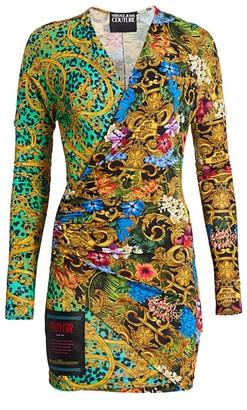 Versace Multi-Print Wrap Bodycon Dress