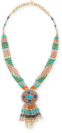 Devon Leigh Beaded Fringe Pendant Necklace