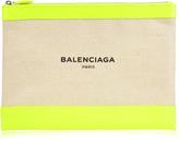 Balenciaga Navy canvas and leather pouch