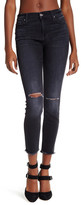 7 For All Mankind The High Waisted Frayed Hem Ankle Skinny Jean