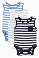 Next Boys Blue/White Bodysuits Three Pack (0mths-2yrs) - Blue