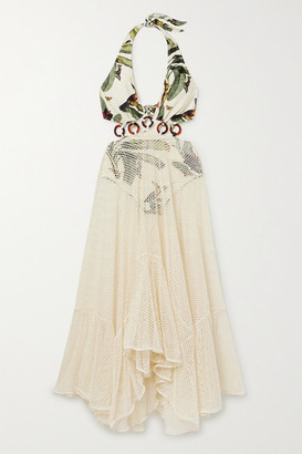 PatBO Cutout Printed Stretch-jersey And Cotton-blend Mesh Maxi Dress - Off-white
