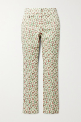 Paco Rabanne Quilted Cotton-blend Floral-jacquard Straight-leg Pants - Ecru