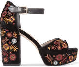 Sam Edelman Marsha Leather-trimmed Embroidered Velvet Platform Sandals - Black