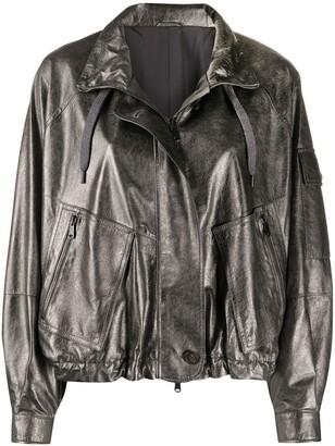 Brunello Cucinelli Stand-Collar Metallic Bomber Jacket