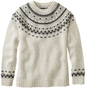 L.L. Bean Women's L.L.Bean Classic Ragg Wool Sweater, Fair Isle Crewneck