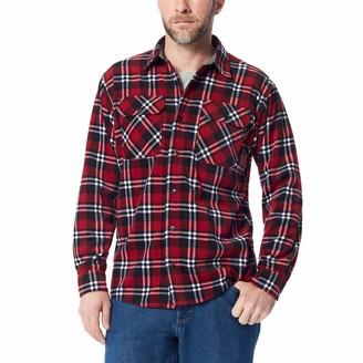 Wrangler Authentics Men's Long Sleeve Plaid Fleece Shirt Rio Red Plaid 3XL