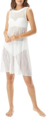 Carmen Marc Valvo High-Neck Sheer Coverup Dress