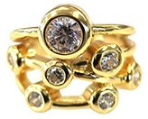 Nana Silver Bubble Mother's Ring - 1 to 7 Stone - Yellow Gold Plated- Size 6.5