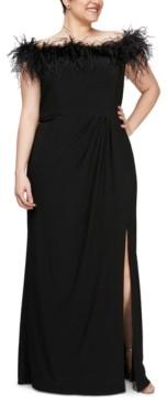 Alex Evenings Plus Size Off the Shoulder Gown