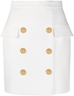 Balmain Decorative-Button Detail High-Waisted Skirt