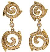 Doris Panos 18K Yellow Gold Swirl Pave 0.90ct. Diamond Dangle Earrings