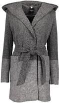 Bebe Gray Two-Tone Hooded Wrap Coat
