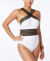 Kenneth Cole Stompin' In Stilettos Illusion-Striped Swimsuit