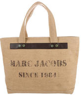 Marc Jacobs Leather-Trimmed Burlap Tote
