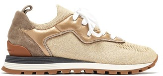 Brunello Cucinelli Metallic Leather-trimmed Trainers - Gold