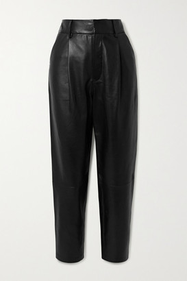 Anine Bing Becky Cropped Leather Straight-leg Pants - Black