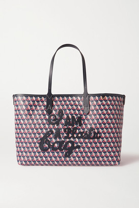 Anya Hindmarch I Am A Plastic Bag Small Appliqued Leather-trimmed Printed Coated-canvas Tote - Blue