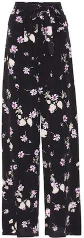 Valentino Floral-printed silk trousers