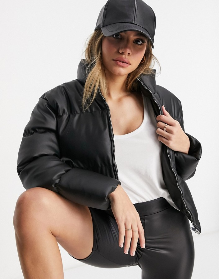 Thumbnail for your product : Brave Soul tropic faux leather puffer jacket