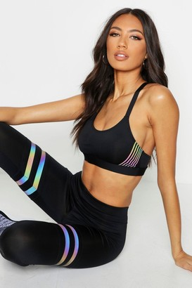 boohoo Fit Iridescent Stripe Medium Support Sports Bra