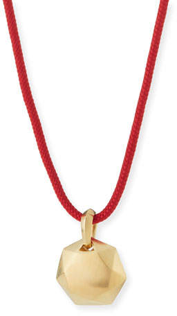 David Yurman 12mm Men's Fortune Pendant in 18K Gold, Red Cord