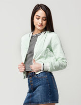 Ashley Crop Stripe Womens Bomber Jacket