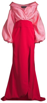 Brandon Maxwell Off-The-Shoulder Satin Gazaar Two-Tone Gown