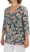 Caribbean Joe Paisley Festival Shirt - 3/4 Sleeve (For Plus Women)