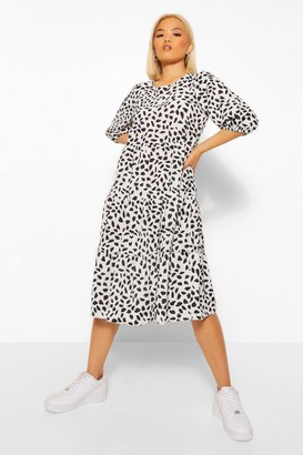 boohoo Petite Smudge Spot Woven Midi Dress
