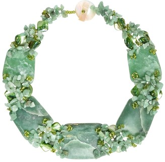 Aeravida Handmade Chunky Jade and SeaShells Link Toggle Collar Necklace