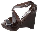 Marni Patent Leather Crossover Wedges