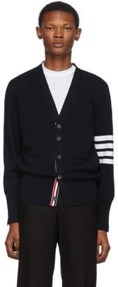 Thom Browne Navy Merino Wool 4-Bar Cardigan