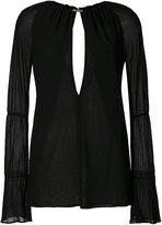 Jay Ahr gold-tone neck slit blouse