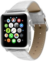 PEUGEOT Watches Apple Watch Replacement Leather Band 38mm with Steel Adapter - White
