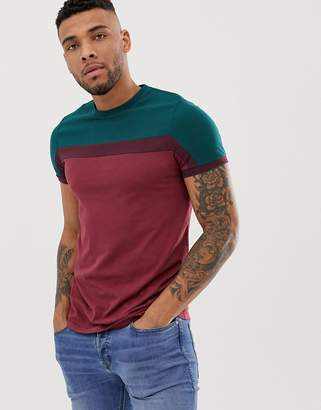 Asos Design DESIGN t-shirt with colour block in red-Purple