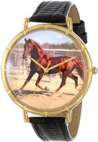 Whimsical Watches Women's N0110024 American Saddlebred Horse Black Leather And Goldtone Photo Watch
