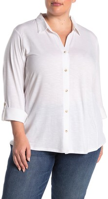 C&C California Button Down Roll Tab Sleeve Shirt (Plus Size)