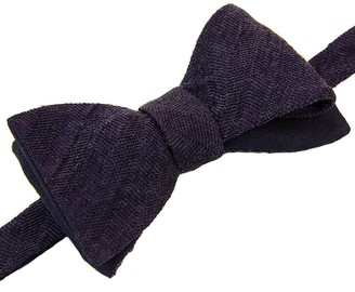 40 Colori Navy Herringbone Washed Linen & Silk Butterfly Bow Tie