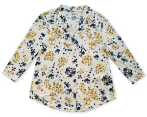 Charter Club Floral 3/4-Sleeve Blouse, Created for Macy's