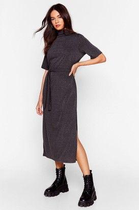 Nasty Gal Womens Tee BT Belted Midi Dress - grey - 4