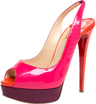 Christian Louboutin Mullticolor Patent Leather Lady Peep Slingback Platform Sandals Size 38