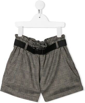 Andorine Check Print Shorts