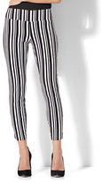 New York & Co. 7th Avenue Pant - Pull-On Ankle - Black & White Stripe