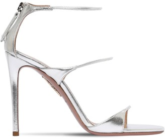 Aquazzura 105mm Minute Metallic Leather Sandals