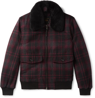 GoldenBear The Pierce Shearling-Trimmed Checked Wool Bomber Jacket