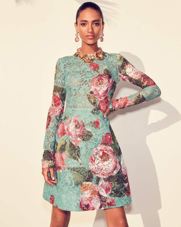 Monique Lhuillier Rose-Print Guipure Lace Fit & Flare Cocktail Dress