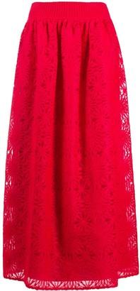 Alberta Ferretti Lace-Knit Maxi Skirt